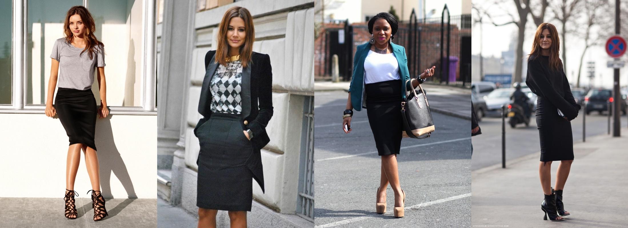 Модные луки с черной юбкой карандаш