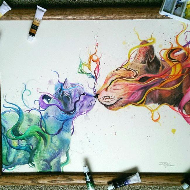 Рисунки красками странные